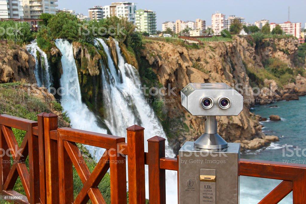 Tourist binoculars on the observation deck near waterfalls, Antalya, Turkey stock photo