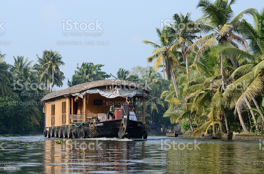 tourist boat at Kerala backwaters,Alleppey,India,Asia stock photo