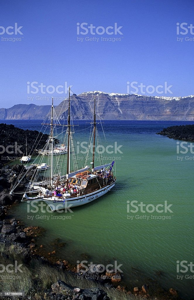 Tourist Boat at Nea Kameni, Santorini royalty-free stock photo