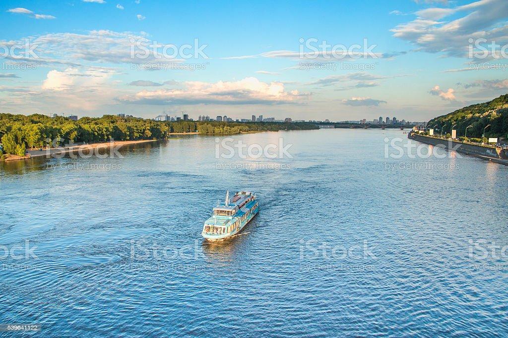 Tourist boat on Dnepr River in Kiev, Ukraine stock photo