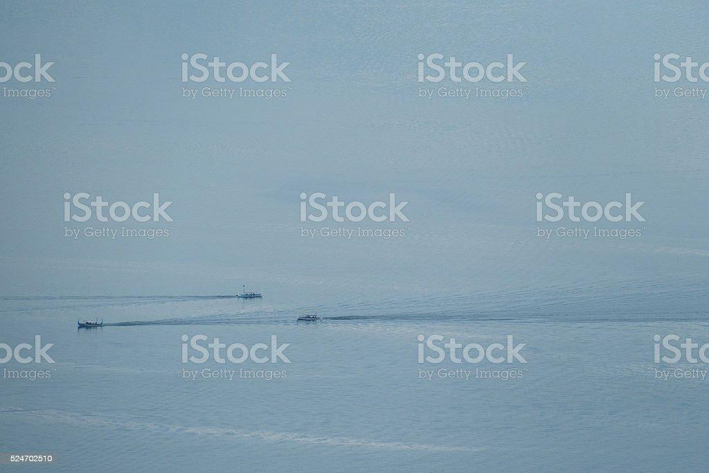 Tourist boat on Taal Lake stock photo
