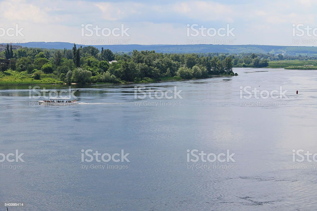 Tourist boat on the Dnieper river stock photo