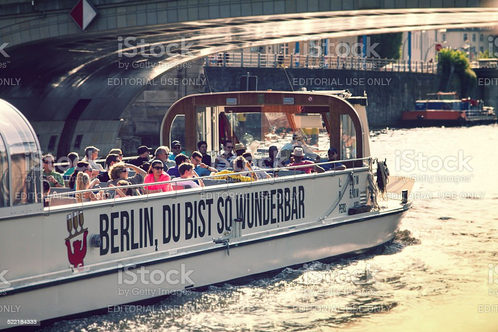 Tourist boat on the Spree in Berlin . stock photo