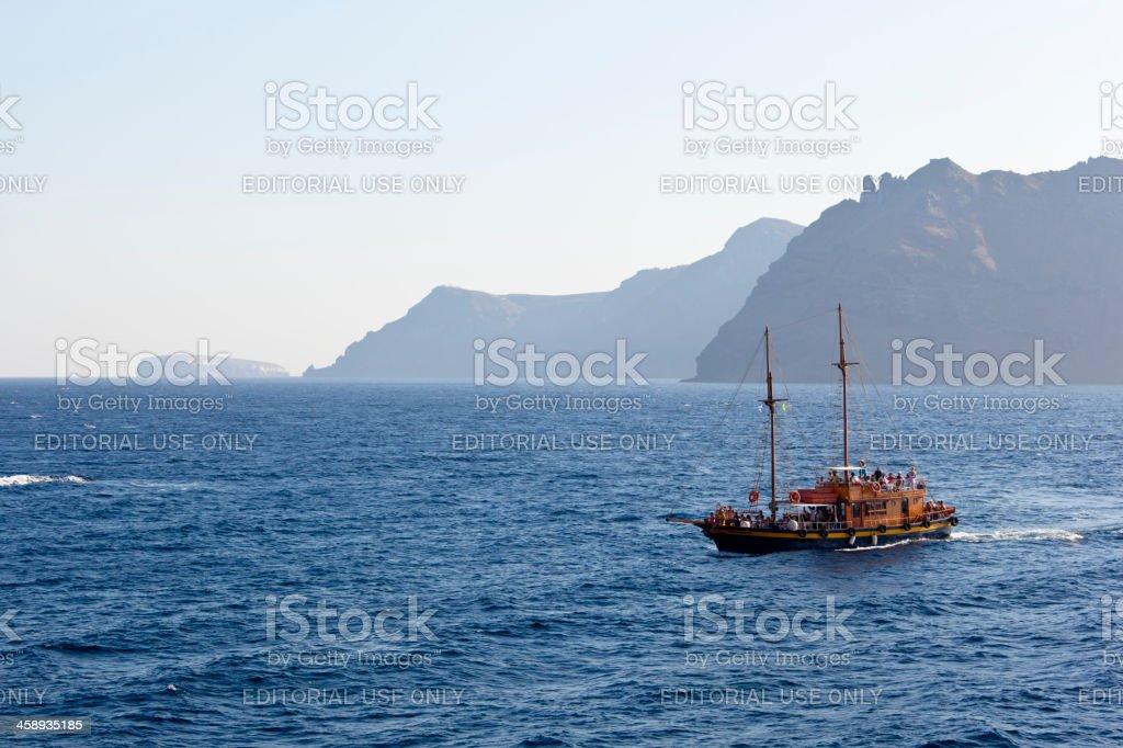 Tourist Boat, Santorini stock photo