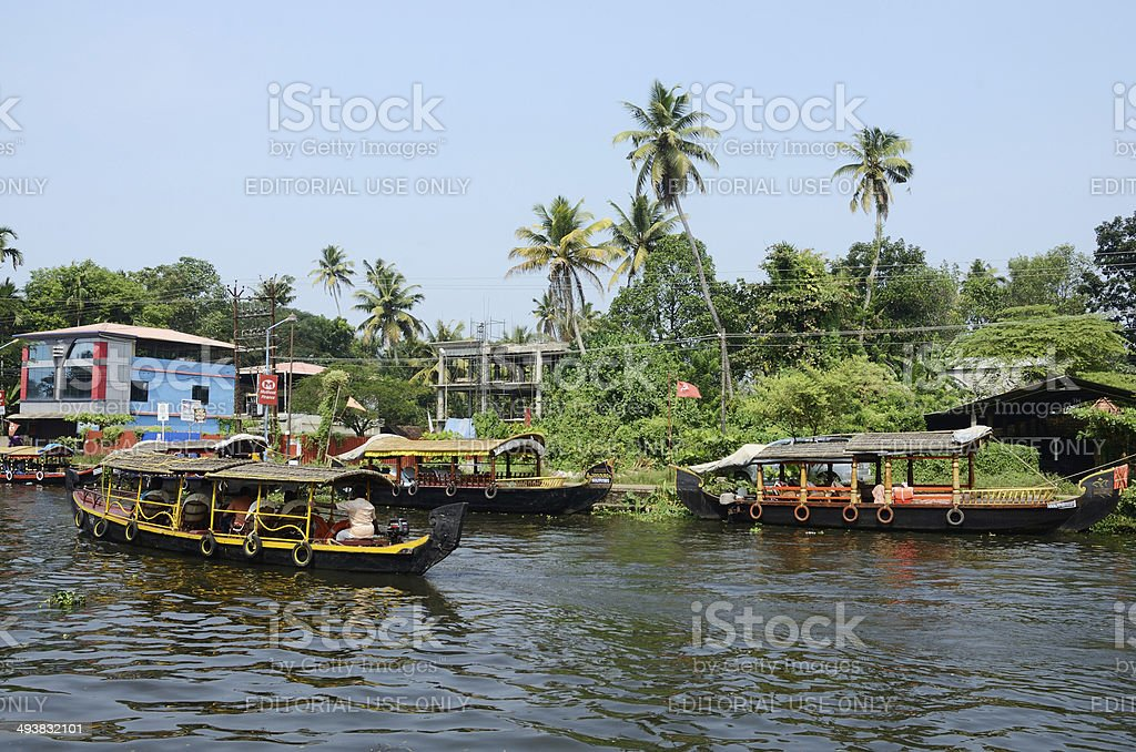 Tourist boats at Kerala backwater, Allappuzha,Kerala,India stock photo