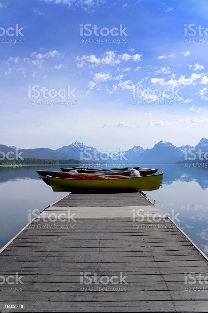 Tourist Boats At Lake McDonald Glacier National Park stock photo