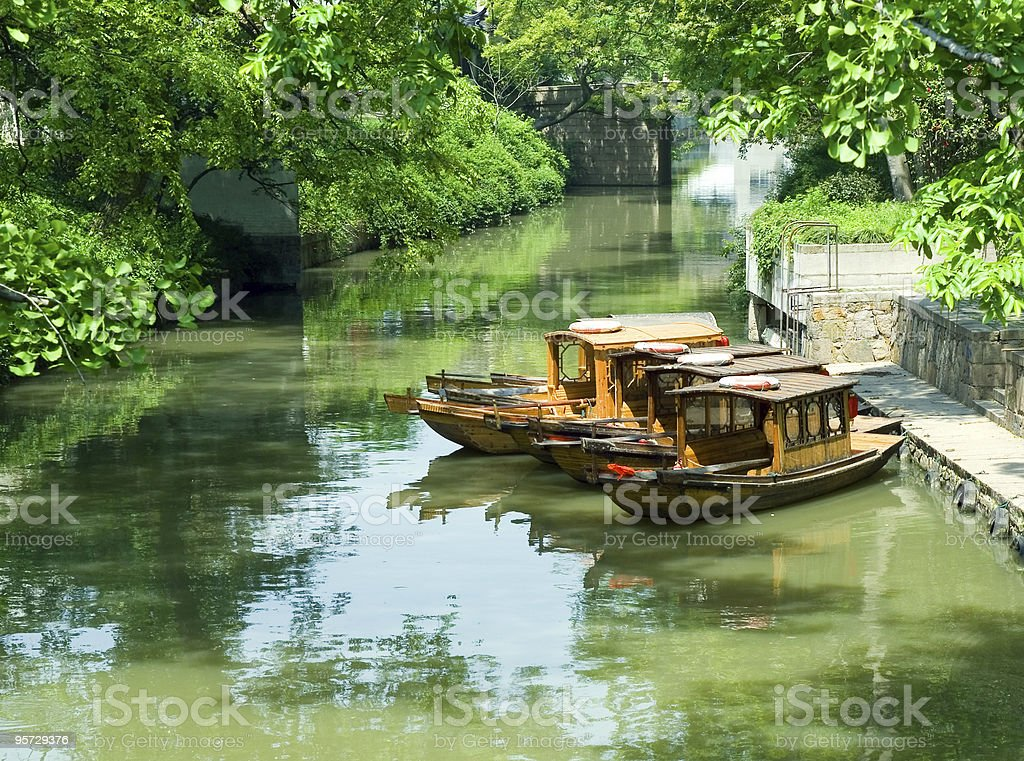 Tourist boats at the canal stock photo