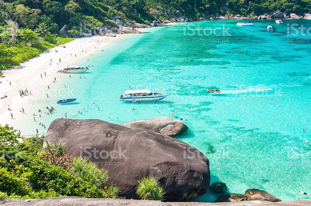 Tourist boats in a bay on Similan islands, Thailand stock photo