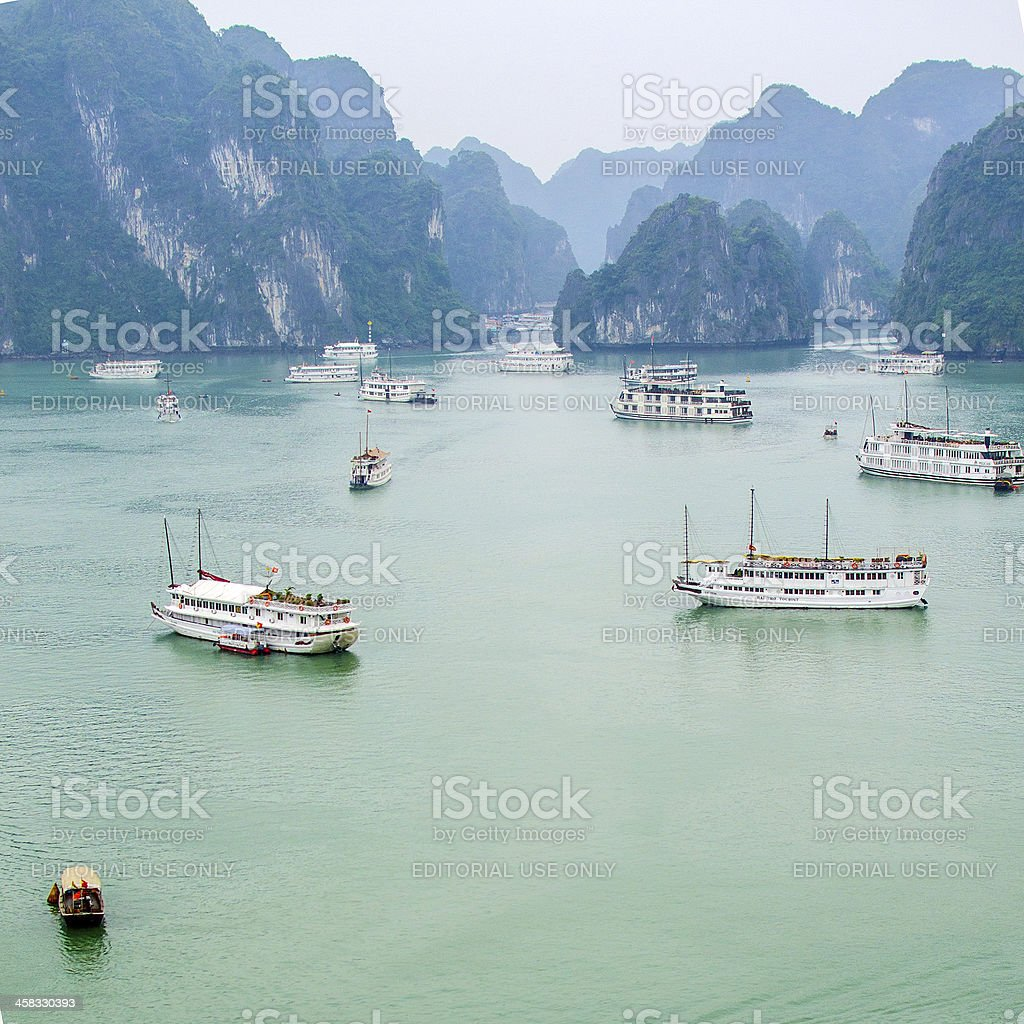 Tourist boats in Halong Bay royalty-free stock photo