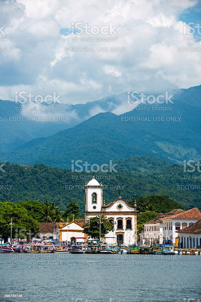 Tourist boats in Paraty, state Rio de Janeiro, Brazil stock photo