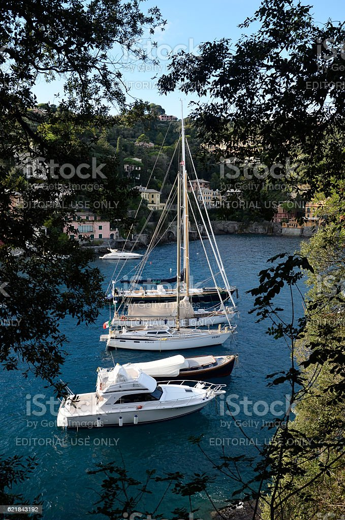 Tourist boats moored in the harbor stock photo