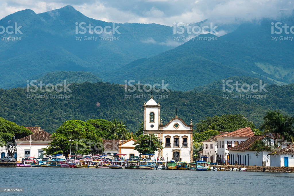 Tourist boats waiting for tourists in Paraty, Brazil stock photo