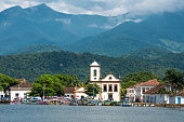 Tourist boats waiting for tourists in Paraty, Brazil
