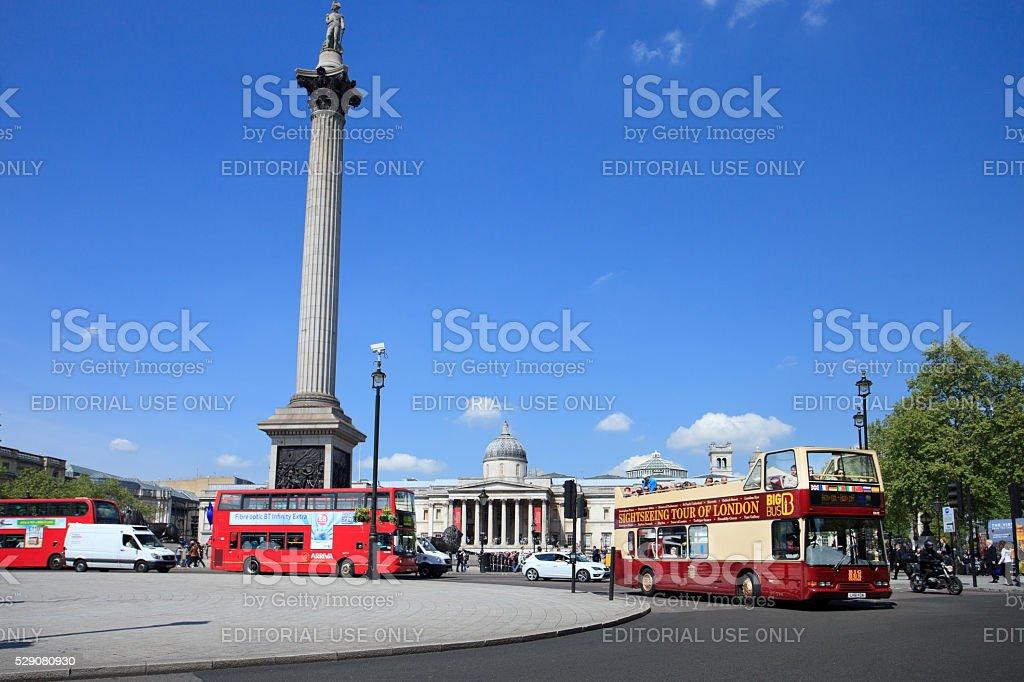 Tourist bus at Trafalgar square stock photo