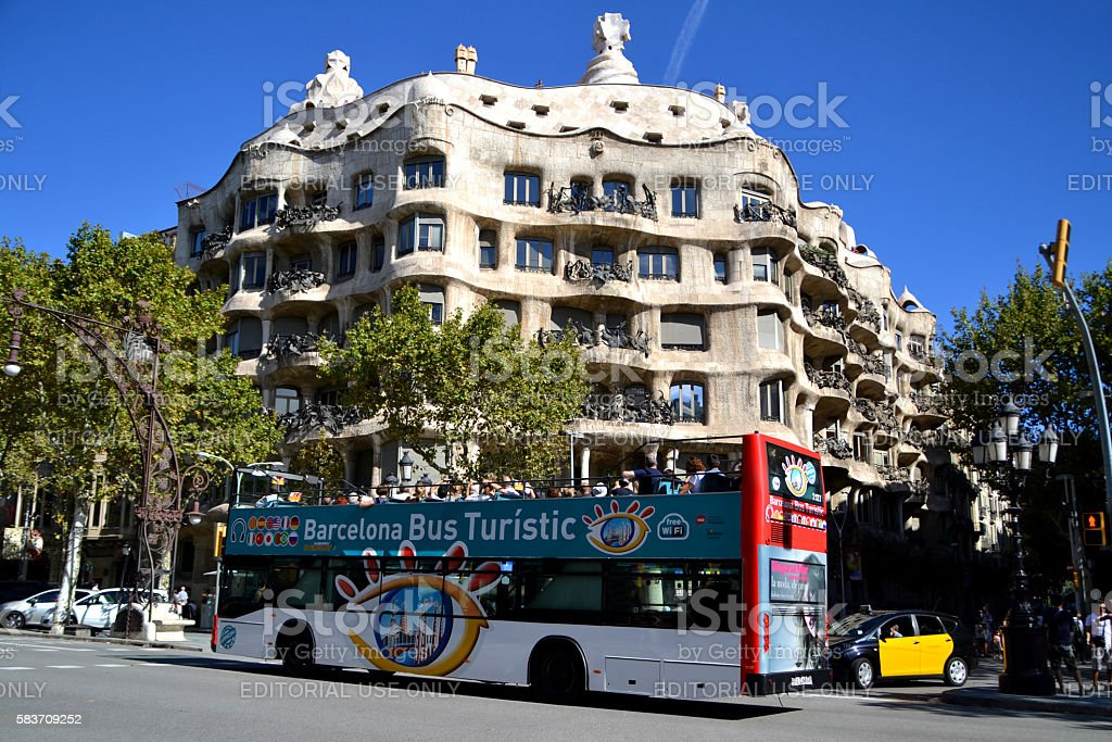 Tourist bus in Barcelona, Spain stock photo
