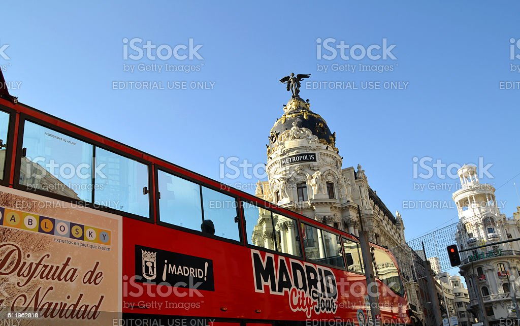 Tourist bus in Madrid, Spain stock photo
