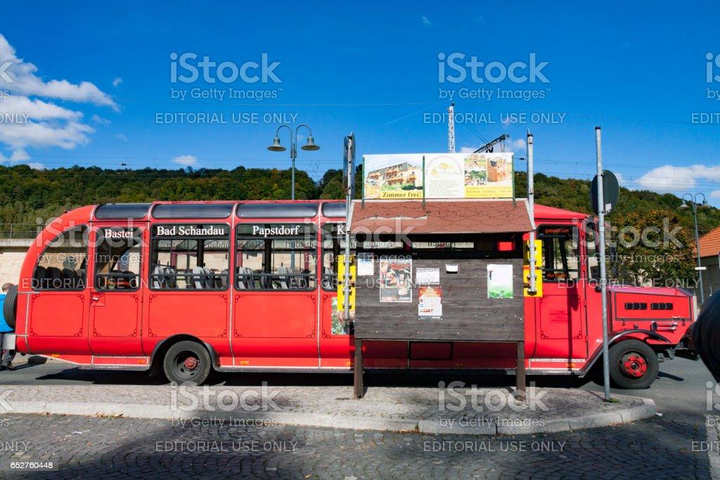 Tourist bus to Königstein stock photo