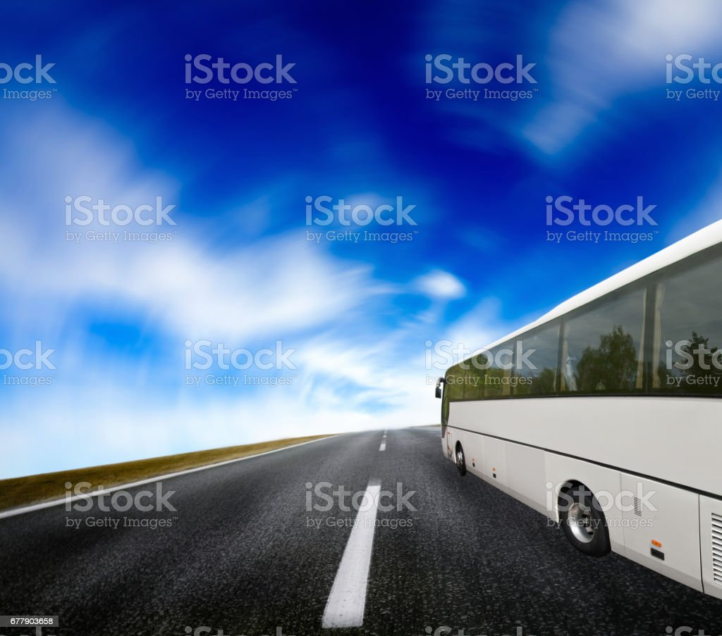 Tourist bus traveling stock photo