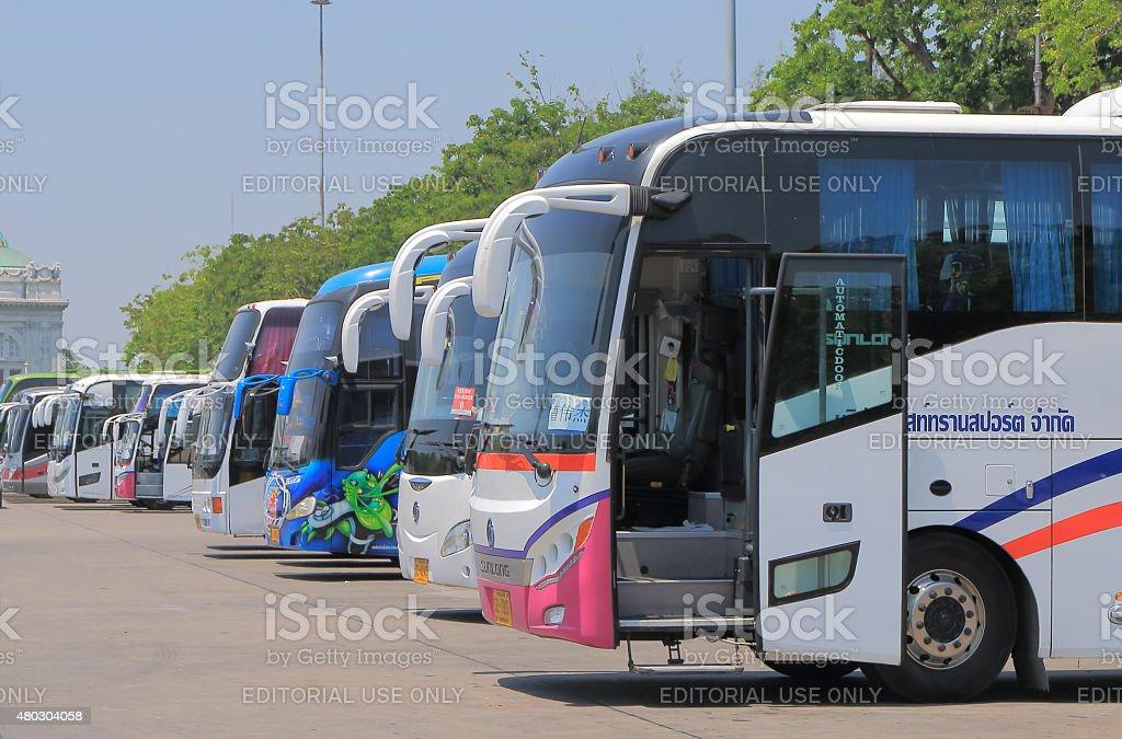 Tourist buses tourism Bangkok Thailand stock photo