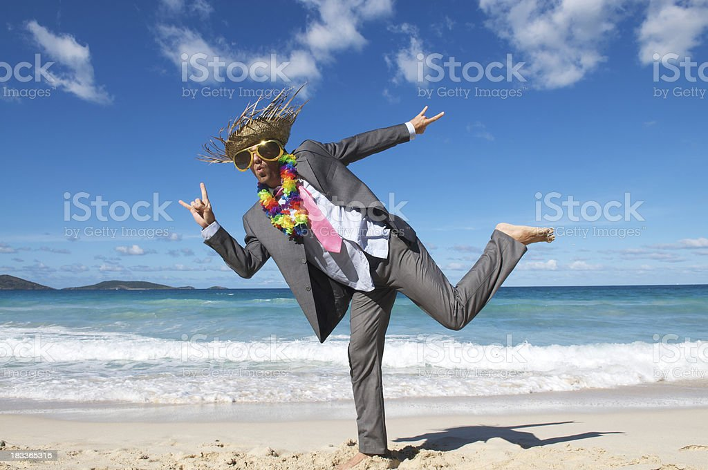 Tourist Businessman Busts a Move by the Sea royalty-free stock photo