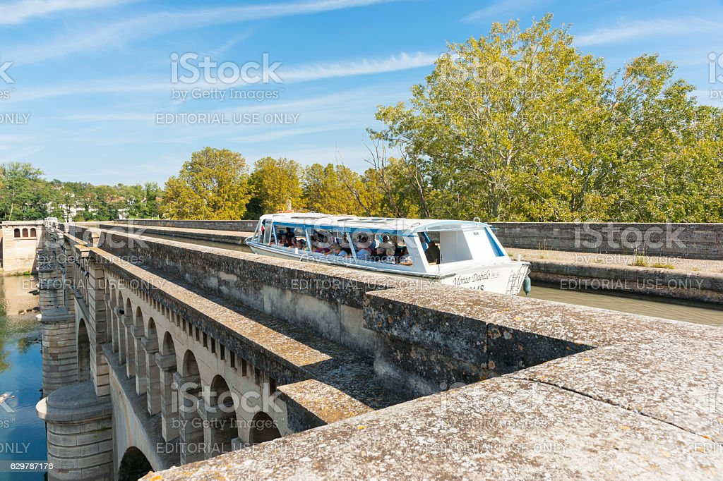 Tourist canal boat Monto Dabalo stock photo