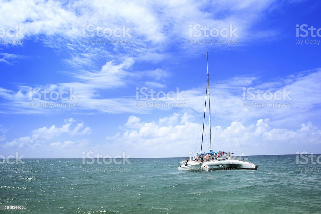 Tourist Catamaran in Caribbean Sea stock photo