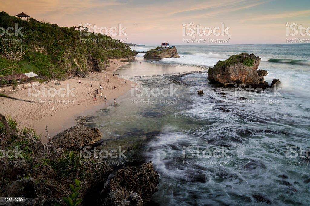 Tourist centre at the Kukup beach, Jogjakarta, Java,  Indonesia stock photo