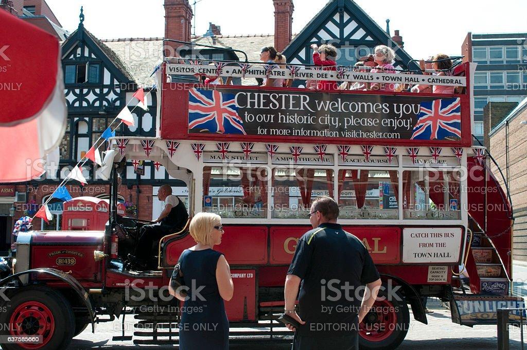 Tourist city tours bus, Chester, UK stock photo