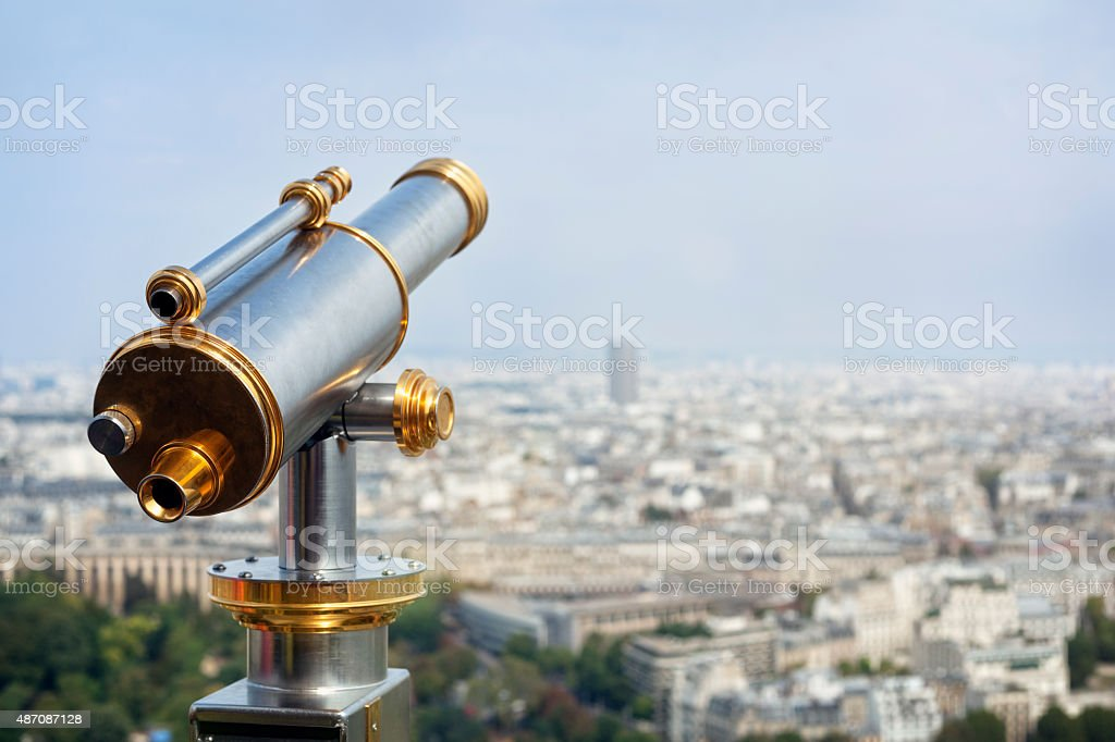 Tourist coin operated telescope stock photo