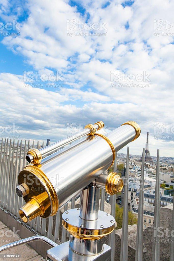 Tourist coin telescope on top of the Arc de Triomphe stock photo
