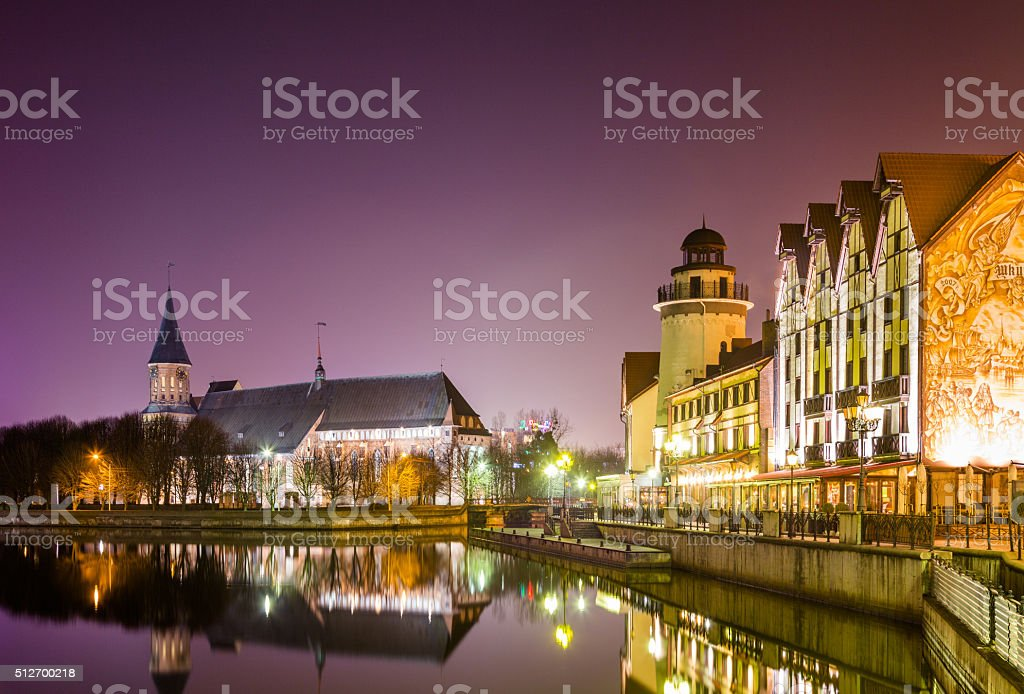 Tourist Complex Fishing Village at night, Kaliningrad stock photo