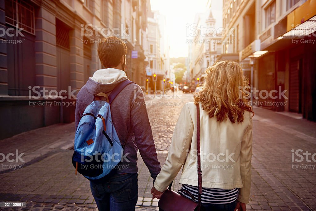 tourist couple city stock photo