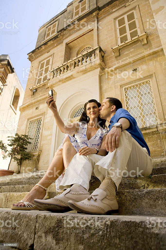 Tourist Couple Self Portrait stock photo