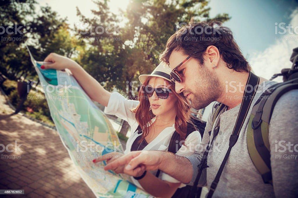 Tourist Couple Sightseeing City stock photo