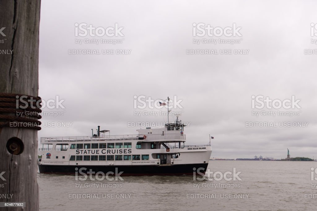 Tourist cruise boat for Statue of Liberty stock photo
