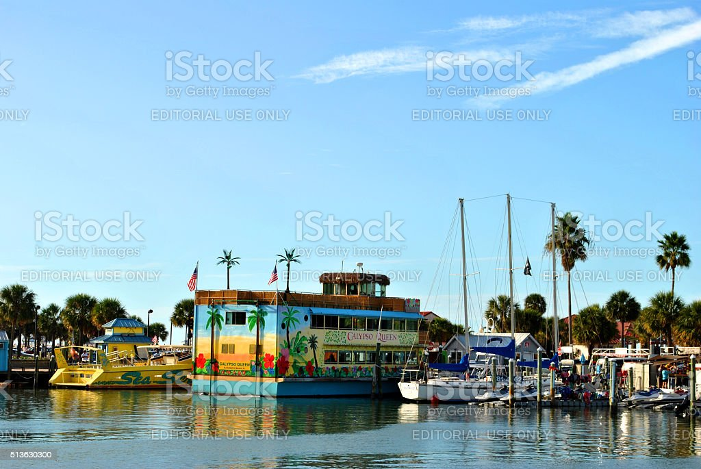 Tourist cruise boats in Clearwater Beach harbour Florida stock photo