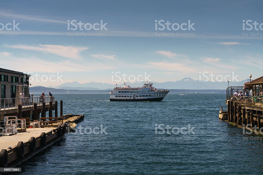 Tourist Cruise Saiils in Seattle's Bay royalty-free stock photo