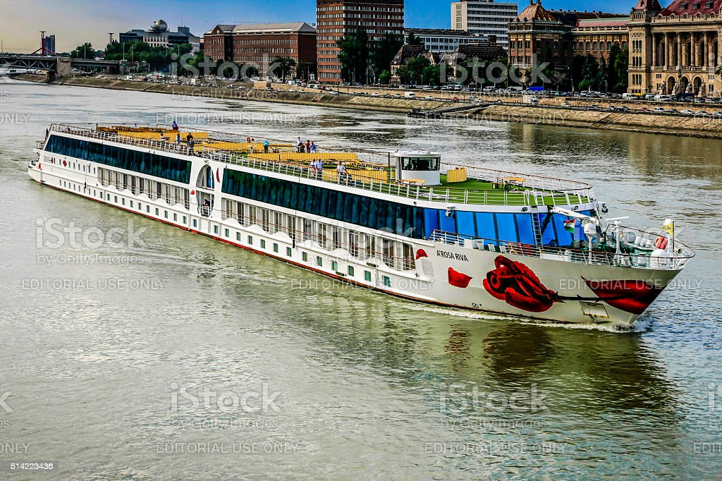 Tourist cruise ship on the river Danube in Budapest, Hungary stock photo