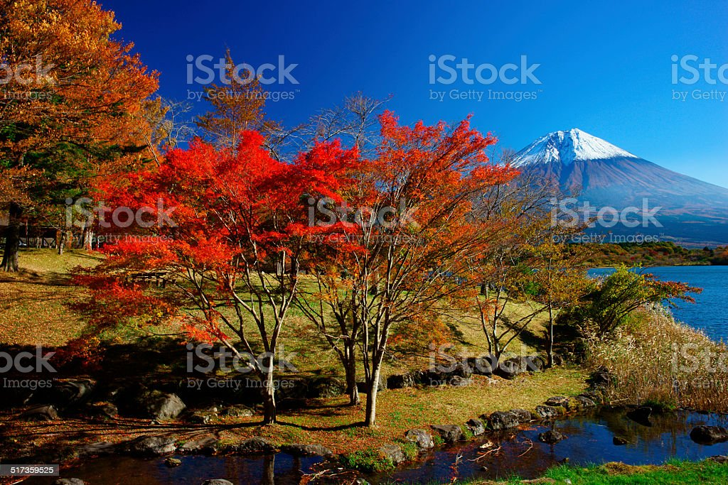 Tourist destinations in Japan with views of Mount Fuji stock photo