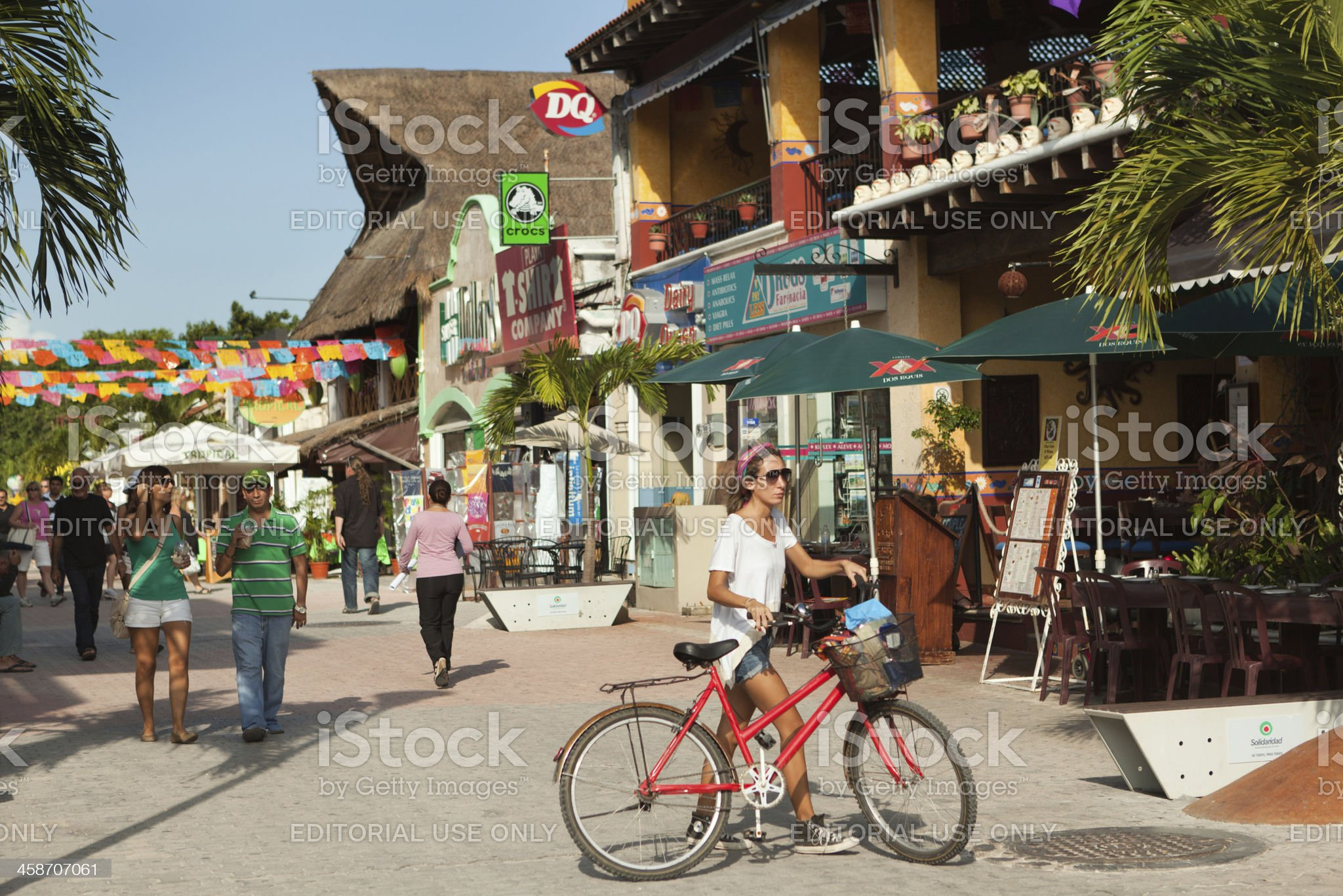 Tourist District of Playa del Carmen in Mexico royalty-free stock photo
