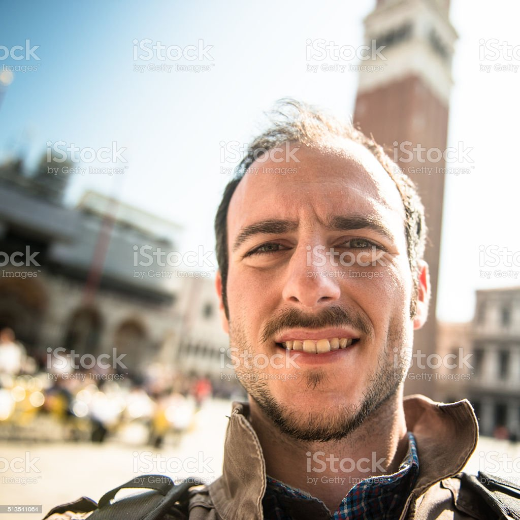 tourist doing selfie in venice stock photo
