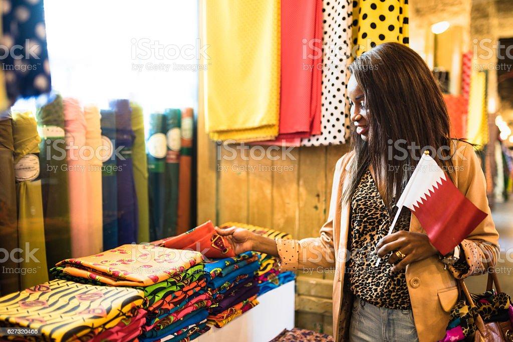 tourist doing shopping in the Doha souq waqif stock photo