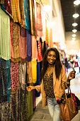 tourist doing shopping in the Doha souq waqif