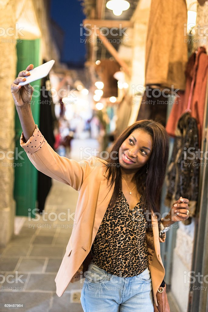 tourist doing shopping in the Doha souq waqif stock photo