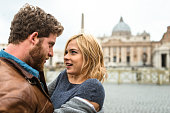 Tourist embracing in Rome for st. valentine