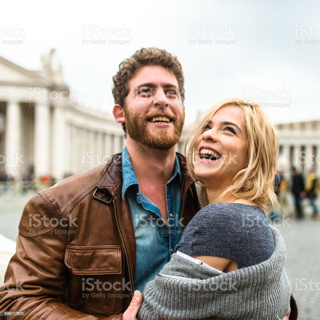 Tourist embracing in Rome for st. valentine stock photo