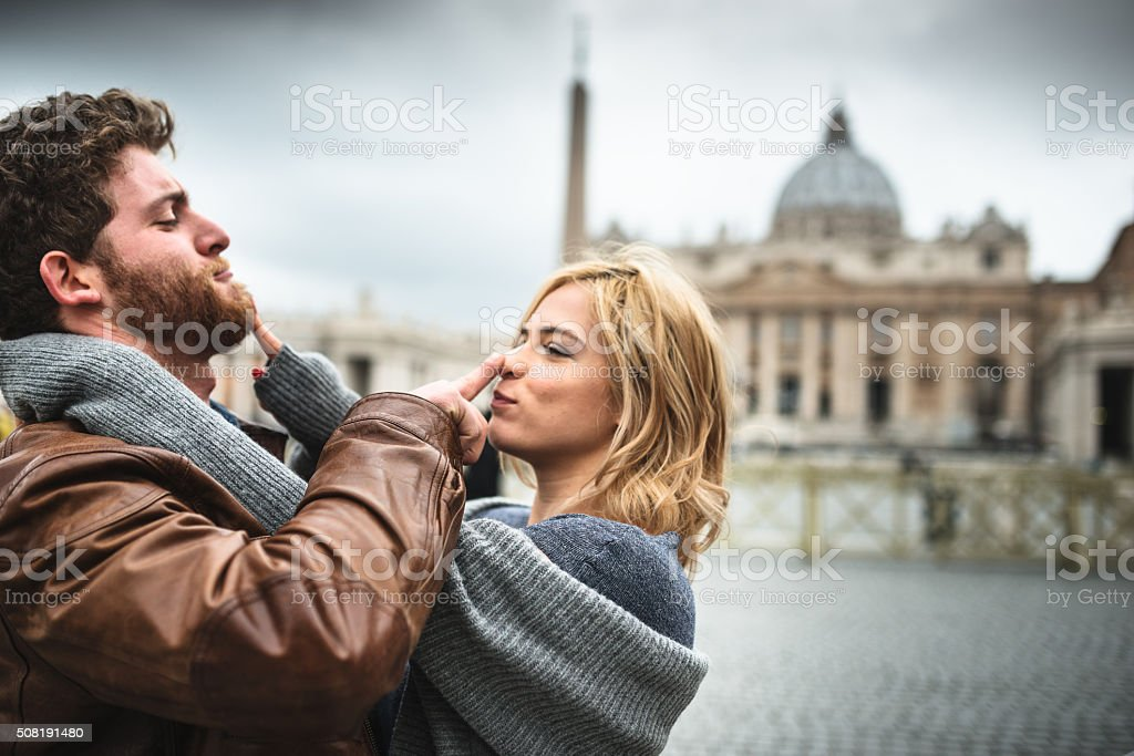 Tourist embracing in Rome stock photo