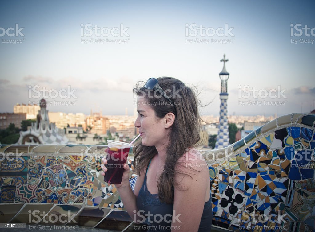 Tourist Enjoying Barcelona royalty-free stock photo