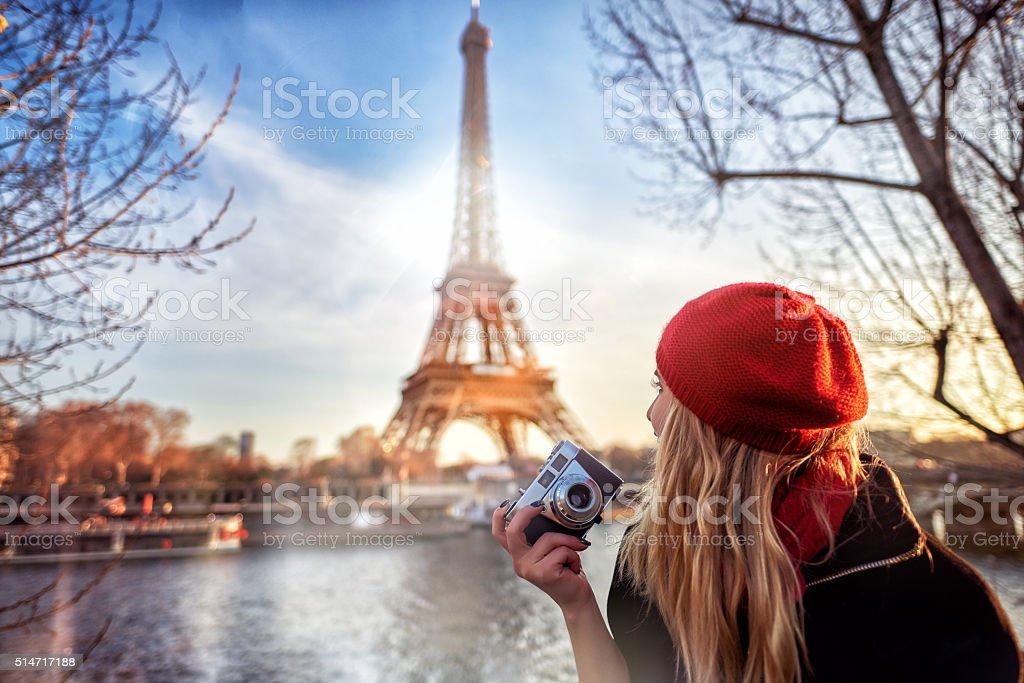 tourist enjoying Paris stock photo