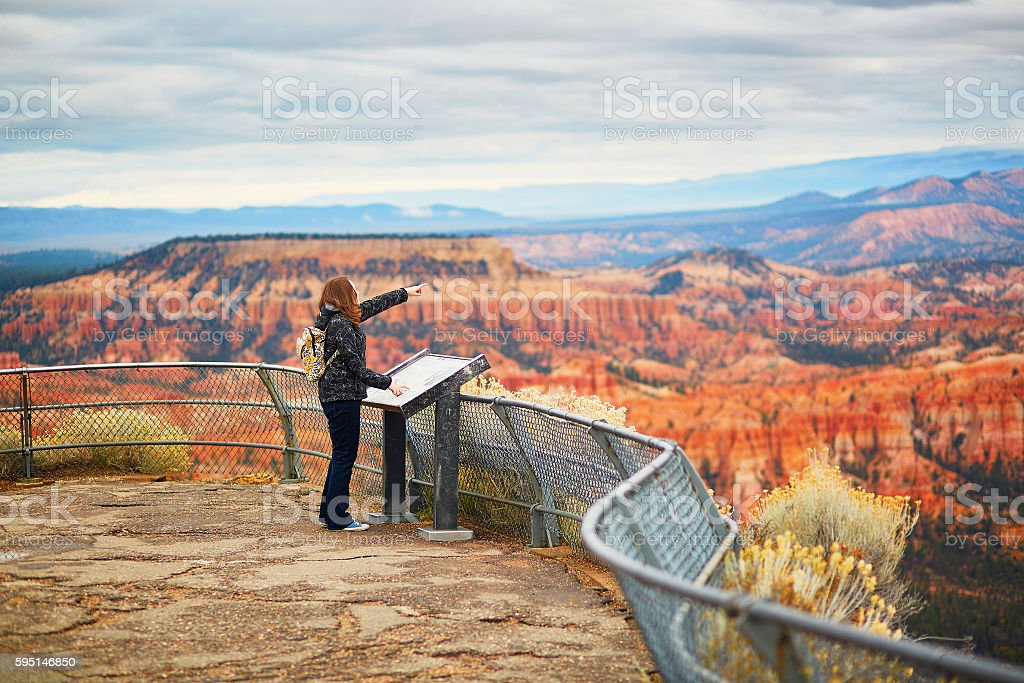 Tourist enjoying scenic view in Bryce Canyon stock photo